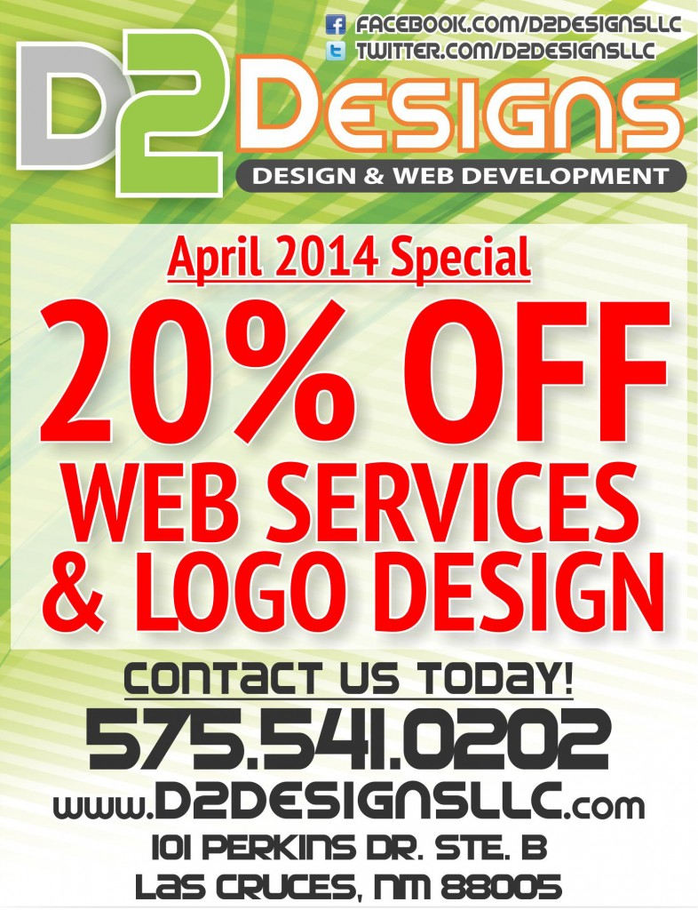 D2 Designs - April 2014 - Web Services and Logo Design